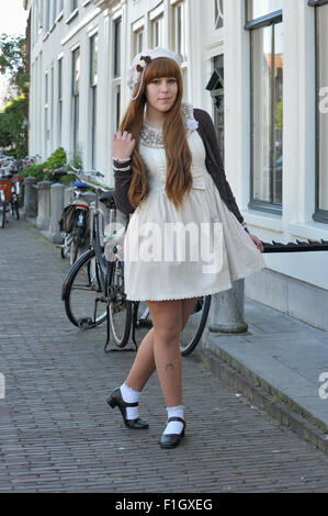Japanese Street Fashion Fan In The Dutch City Of Leiden The Center Stock Photo Royalty Free