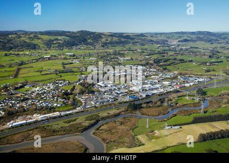 Drury, and Drury Creek, Auckland, North Island, New Zealand - aerial - Stock Photo
