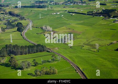 North Island Main Trunk Railway Line near Paerata, South Auckland, North Island, New Zealand - aerial - Stock Photo