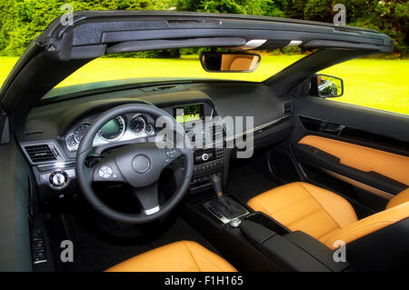 The classy interior of a luxury convertible. - Stock Photo