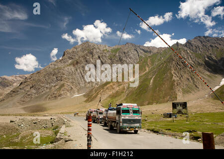 India, Jammu & Kashmir, Srinagar to Leh Highway, Khangral,  three petrol tankers at Drass police check point - Stock Photo