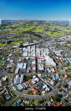 Pukekohe town centre, South Auckland, North Island, New Zealand - aerial - Stock Photo