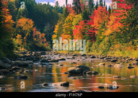 Autumn colors near Lake Placid in Adirondacks State Park in the northern part of New York State, USA - Stock Photo