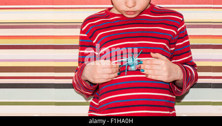 Little girl holding a plastic toy spider in her hands. Conceptual image of childhood curiosity, fantasy and adventure. - Stock Photo