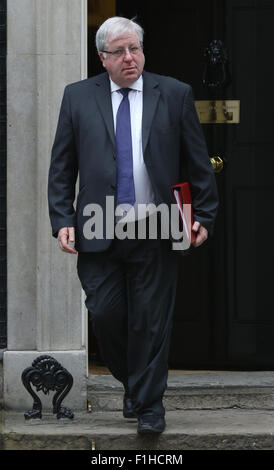 London, UK, 14th July 2015: Patrick McLoughlin seen at Downing Street in London - Stock Photo