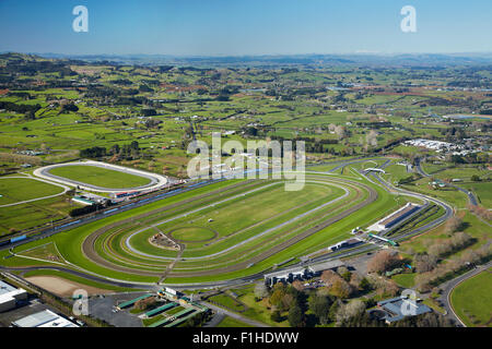 Pukekohe Park Raceway with motor and horse racing circuits, Pukekohe, South Auckland, North Island, New Zealand - Stock Photo