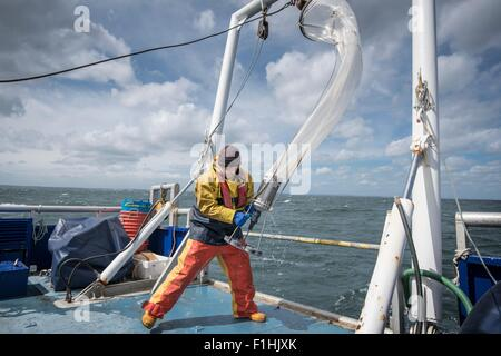 Scientist bringing plankton net on board of research ship - Stock Photo