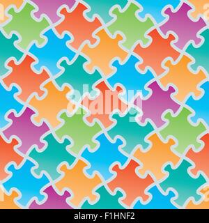 Colorful jigsaw puzzles. 3d seamless background. Vector EPS10. - Stock Photo