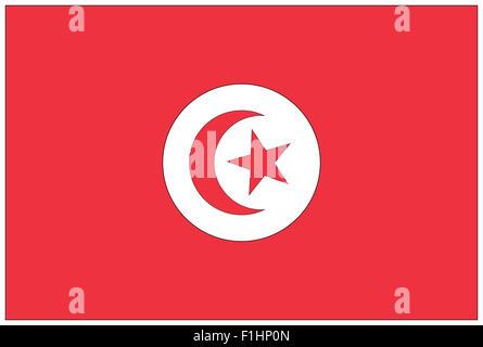 Fahne: Tunesien/ flag: Tunisia. - Stock Photo