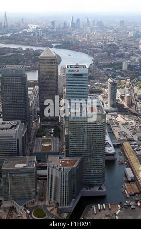 aerial view of Canary Wharf, Docklands & River Thames towards the central London skyline, UK - Stock Photo