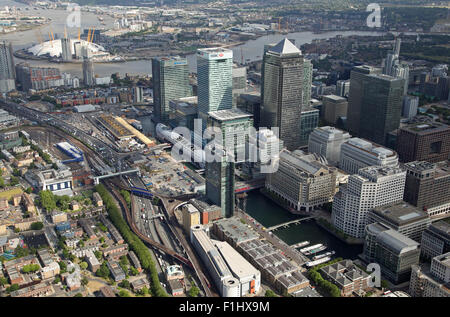 aerial view of Canary Wharf & O2 Arena looking along the West India Dock Road A1261 and Docklands Light Railway - Stock Photo