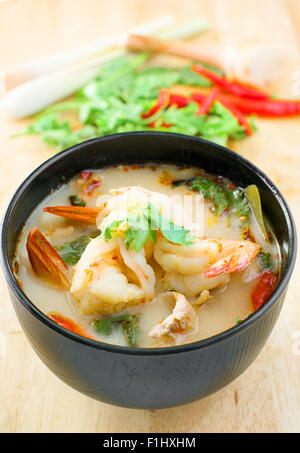 Tom Yum Kung, Spicy thai traditional soup - Stock Photo