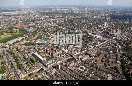 aerial view looking south east across the A10 road in Stoke Newington, Hackney, London, UK - Stock Photo