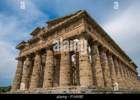 Second temple of Hera at Paestum archaeological site, one of the most well-preserved ancient Greek temples in the - Stock Photo