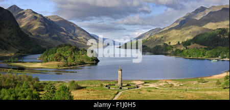 Glenfinnan Monument at Loch Shiel, erected in 1815 in tribute to the clansmen who fought in the cause of Bonnie - Stock Photo