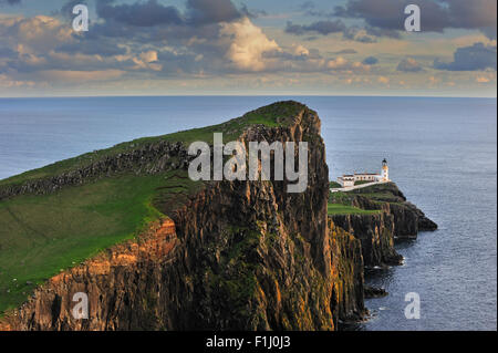 Neist Point Lighthouse at sunset on the Isle of Skye, Inner Hebrides, Scotland, UK - Stock Photo
