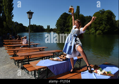dpa-Exclusive - The 'Oktoberfest Wiesn' playmate 2015, Jessica Kuehne poses in a traditional Bavarian 'Dirndl' dress, - Stock Photo