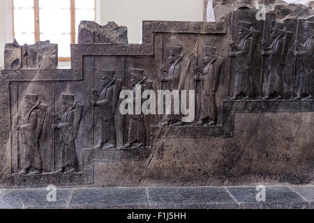 Royal audience scene, Persepolis, National Museum of Iran, Tehran - Stock Photo