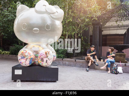 'Time after Time Capsule' by the artist Sebastian Masuda stands in Dag Hammarskjold Plaza in New York on Sunday, - Stock Photo