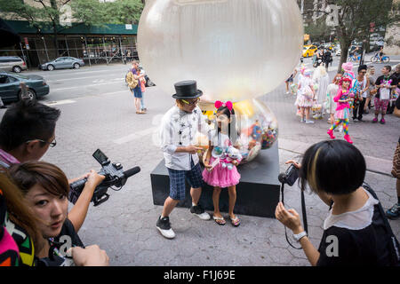 The artist Sebastian Masuda with fans at the 'Time after Time Capsule' ceremony in Dag Hammarskjold Plaza in New - Stock Photo