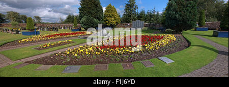 Wide shot of the Lockerbie PA103 memorial with names of the dead,in summer,Scotland,UK - Stock Photo