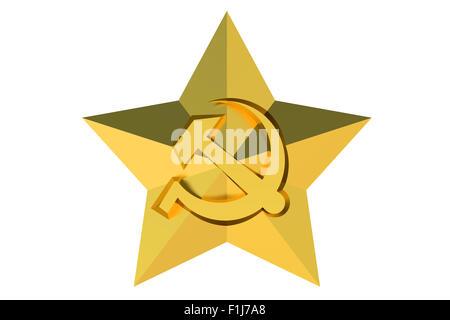 Soviet Union star badge isolated on white background - Stock Photo