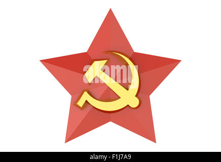 Soviet red star badge isolated on white background - Stock Photo