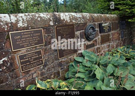 Lockerbie PanAm103 In Rememberance Memorial wall, Scotland - Stock Photo