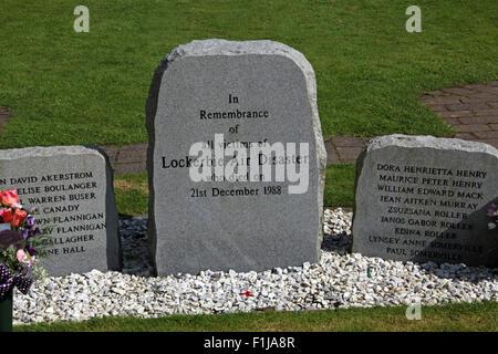 Lockerbie PanAm103 In Rememberance Memorial Stone,Scotland - Stock Photo