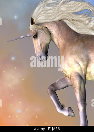 Cosmic stars surround the beauty of a dapple buttermilk unicorn as he prances across the universe. - Stock Photo