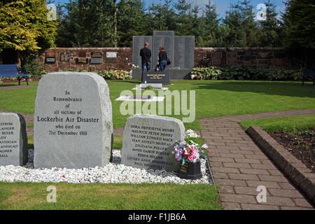 Lockerbie PanAm103 In Rememberance Memorial Visitors Remembering, Scotland - Stock Photo