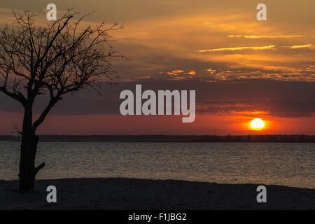Sunset Over Sinepuxent Bay Assateague Island - Stock Photo