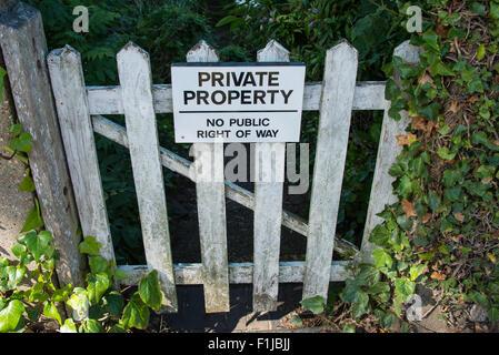Wooden gate with Private Property sign, Weybridge Marina, Thames Street, Weybridge, Surrey, England, United Kingdom - Stock Photo