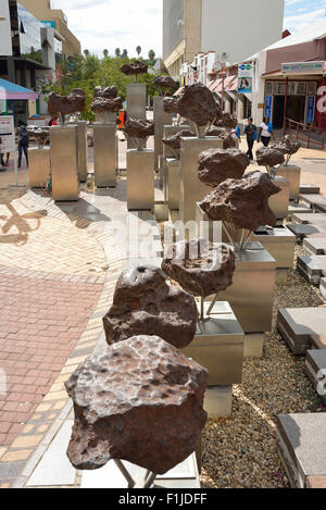 Gibeon meteorite Sculpture, Post Street Mall, Independence Avenue, Windhoek (Windhuk), Khomas Region, Republic of - Stock Photo