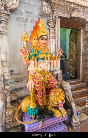 Durga goddess statue, Hindu temple Sri Srinivasa Perumal, inner courtyard, Indian district of Little India, Singapore - Stock Photo