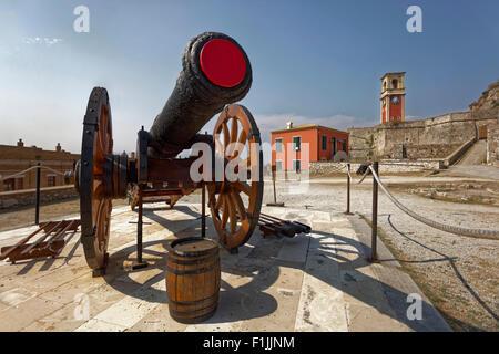 Cannon in the Old Fortress, Palaió Froúrio, Corfu Town, Unesco World Heritage Site, Corfu or Kerkyra island, Ionian - Stock Photo
