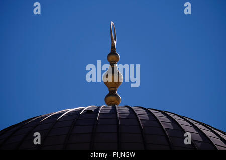 Dome of the Islamic shrine Haram al Sharif or Dome of the Rock mosque at the Temple Mount in the old city East Jerusalem - Stock Photo