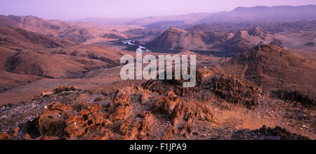 Overview Landscape and Kunene River, Angola and, Namibia, Africa Border Africa - Stock Photo