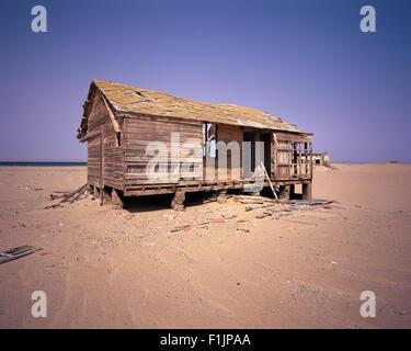 Deserted House Baya Del Tigre Angola, Africa - Stock Photo