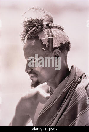 Profile of Masai Man Outdoors Kenya - Stock Photo