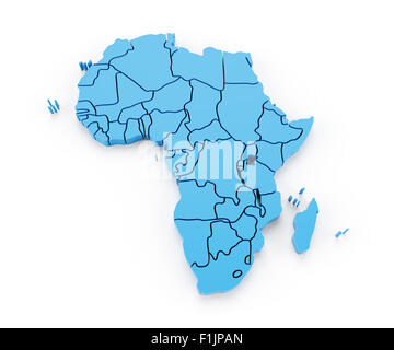 Map of Africa with national borders - Stock Photo