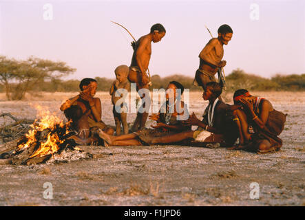 Bushmen Singing and Dancing Kalahari Desert, Botswana, Africa - Stock Photo