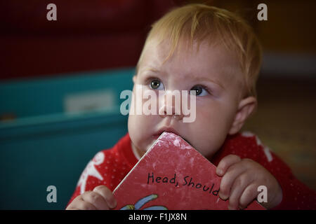 A teething eleven month old baby biting on the corner of a book to alleviate the pain and discomfort of tooth ache. - Stock Photo