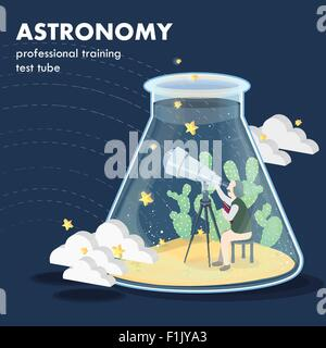 astronomy concept in flat 3d isometric graphics - Stock Photo
