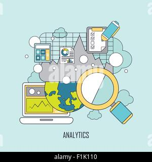 website data analytics concept in thin line style - Stock Photo