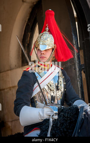 Soldier of the Queen's Life Guard mounted and on sentry duty in London, England. - Stock Photo
