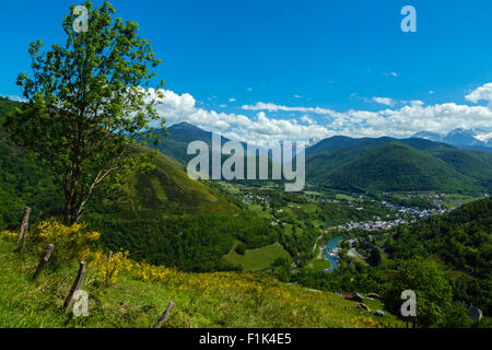 Panorama from the road to col d Aspin, national park of Pyrenees, Hautes Pyrenees, France - Stock Photo