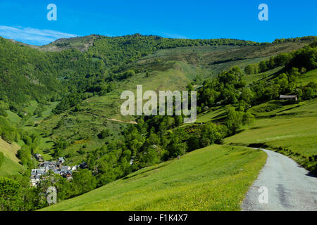 Aspin Aure, the road to col d Aspin, national park of Pyrenees, Hautes Pyrenees, France - Stock Photo
