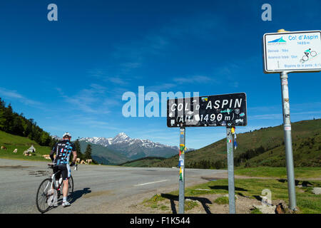 Col d Aspin, national park of Pyrenees, Hautes Pyrenees, France - Stock Photo