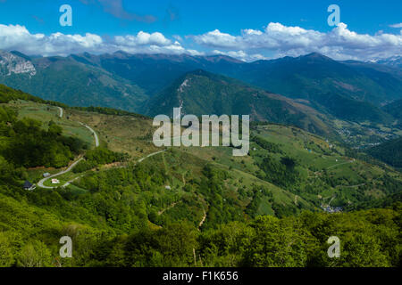 View from the col d Aspin, national park of Pyrenees, Hautes Pyrenees, France - Stock Photo